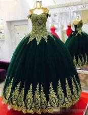 Verde oscuro con encaje oro Baile Vestidos quinceañera Vestidos 16 Chica Baile de graduación Fiesta Vestido