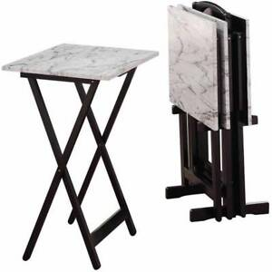 5 Piece Folding TV Faux Marble Tray Table Set Coffee Snack Dinner Laptop NEW