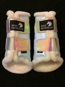 MERMAID BLINGY BRUSHING BOOTS TENDON DRESSAGE PROTECTION FLUFF XS PONY COB FULL