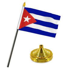 "Cuba Cuban Flag 4""x6"" Desk Set Table Stick Gold Base"
