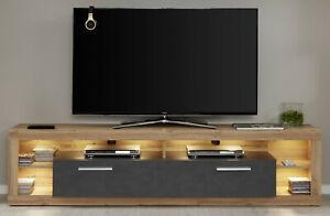 TV-Unterteil Eiche Wotan und grau 200 cm TV-Lowboard Board Fernsehtisch Rock