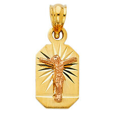 Real 14K Yellow Rose Gold Jesus Cross Crucifix Catholic SMALL TINY Pendant Charm