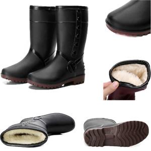 Ladies Rain Flat Chelsea Ankle Wellies Wellington Women' Boots Winter Warm UK SZ