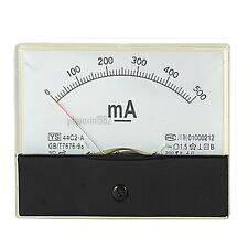 1Pcs 44C2-A DC 0-500mA Current Power Panel Meter Analog Ammeter Class1.5