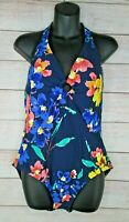 NEW Sea Angel Halter Style One Piece Swimsuit Women's XL XLarge Blue Floral 1PC
