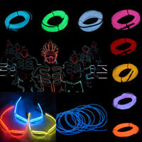 5M Flexible Car Neon LED Lights Glow EL Wire String Strip Rope Battery  2