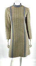 VTG 60s Shift Dress Size 8 / 10 Gray Yellow Long Sleeve High Neck R&K Knits