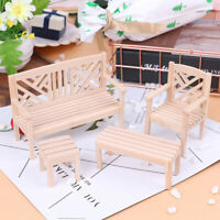 4Pcs/Set 1:12 Dollhouse Miniature Chair Tables Furniture Doll House AccessoriJC