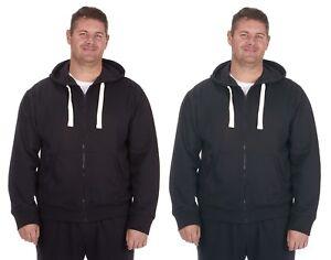 Mens Plus Size Zip Front Plain Hoodie / Hoody