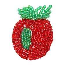 ID 9115 Red Apple Fruit Patch Healthy Snack Food Tree Beaded Iron On Applique