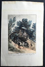 1819 Gainsborough & Wells Antique Print of an English Country Farming Scene