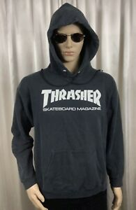 rare vintage THRASHER Skateboard SF CA Black Hoodie Sweatshirt Jacket men M