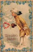 With Love's Greeting Valentine greeting young boy doves antique pc Z25765