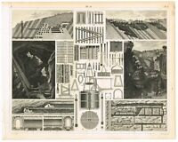ANTIQUE PRINT VINTAGE 1851 ENGRAVING TECHNOLOGY INDUSTRY MINING & EQUIPMENT