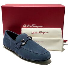 Ferragamo Gancini Bit Blue Suede 10 EE 43 Men's Leather Drivers Loafers Moccasin