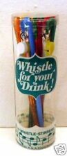 1960 Whistle Drink Stirrers Set Old Store Display Stock