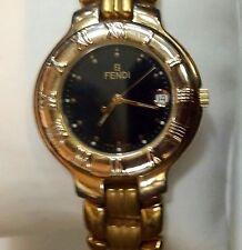 "Preowned FENDI Mens Swiss Quartz Watch 18k Gold Plated On Stelnless  9"" Long"