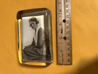 VINTAGE GLASS PHOTO PAPERWEIGHT Women Pictured also Mirror