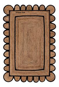 Scallop Rugs 100% Natural braided jute bohemian Hemp carpet Home Decor rag rugs