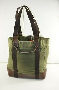 NWT J.Crew $168 Men's Abingdon Waxed Canvas Tote Bag Leather Green Rugged