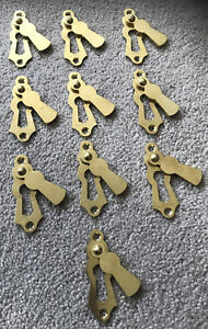 X10 SOLID BRASS VINTAGE STYLE DOOR LOCK KEY HOLE COVER