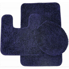 Layla 3 Piece Shag Bathroom Rug set- Bath mat, Contour and Seat Cover Navy