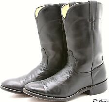 LAREDO Mens Cowboy Boots 7.5 D Western Roper Black Leather Made in USA
