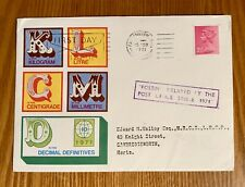 """1971 First Day Cover Definitive Issue-handstamp- """"Delayed By Postal Strike"""""""