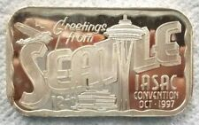 1997 Troy Oz .999 Silver Bar IASAC Club Convention Greetings From Seattle #257