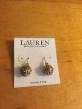 Ralph Lauren Antique Goldtone  Monkey Fist Knot Drop Earrings $26 #304