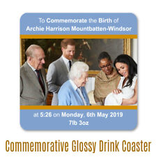 Archie Harrison Mountbatten-Windsor Grandparents commemorative drinks coaster