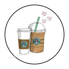 "30 Starbucks Latte Coffee Envelope Seals Labels Stickers Party Favors 1.5"" Round"