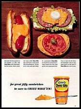 1964 Kraft Cheez Whiz Vintage PRINT AD Cheese Spread Hot Dog Sandwich 1960s