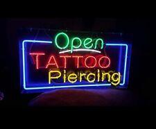"""Neon Light Sign 24""""x16"""" Open Tattoo Piercing Beer Bar Artwork Decor Lamp"""