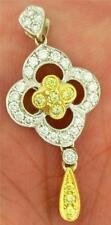 Simon G.18K White Gold & 0.65 cttw White & Yellow Diamond Pendant LP3605 $3,200!