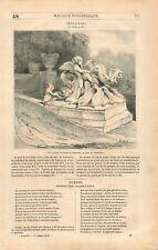 Bassin de Neptune et Amphitrite Protée Coquille Parc de Versailles GRAVURE 1836