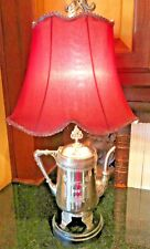 """VINTAGE SILVERPLATE TEAPOT LAMP ENGRAVED """"MOM"""" RED SHADE 24 x 9  Beautiful!"""