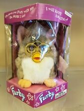 1998 Furby Leopard Pink Gray w/ Grey Stripes Brown Eyes Electronic Toy 70-800