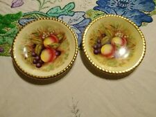 More details for aynsley orchard gold 2 large coasters rare signed d jones