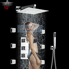 "Luxury Thermostatic Shower Faucet Set Valve 10"" Panel Body Massage Shower Jets"
