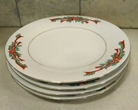 Poinsettia And Ribbons Fine China Dinnerware Tableware Dinner Plates Set of 4