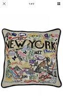 Cat Studio New York City Pillow NWT Manhattan THE BIG APPLE  Embroidered Yankees