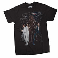 Star Wars Chewbacca and The Gang Mens Black T-Shirt