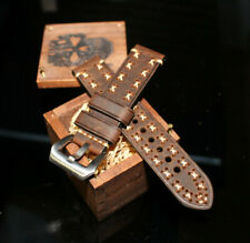 24mm Rebel Devil 13 SANDALWOOD Star Stitched Custom Strap HANDMADE