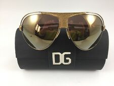 DOLCE & GABBANA Aviator Sunglasses DG 2028-Q Gold Brown Mirror Lens