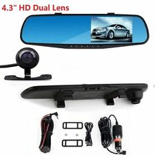 4.3'' LCD Dual Lens Car Front & Rear View Mirror Dash Cam Video Camera Recorder