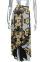 New Women's Thalia Sodi Black & Gold Floral Print Skirt Size Medium