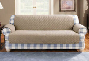 Sure Fit Cotton Duck LOVESEAT Cover Pet Throw in Linen (Diamond pattern) NEW
