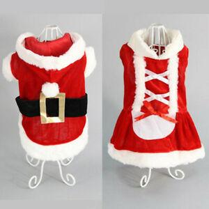 XS-XL Winter Dog Clothes Fleece Jacket Pet Coat Sweater Puppy Christmas UK