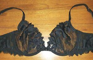 Victoria's Secret sheer black lace unlined plunge underwire bra 32DD EUC
